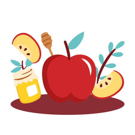 apples with sweet honey pot vector illustration design