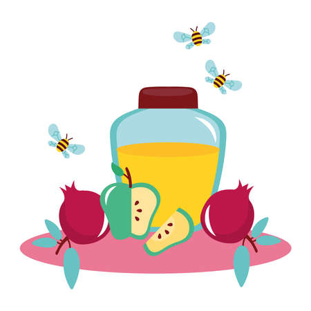 honey in jar with fruits and bees flying vector illustration design
