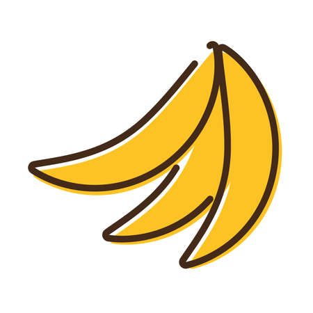 fresh bananas fruits line and fill style icon vector illustration design