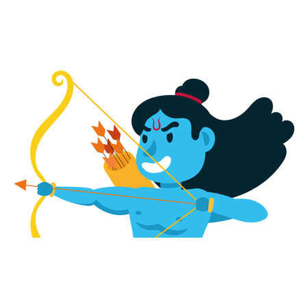rama god with arch character vector illustration design