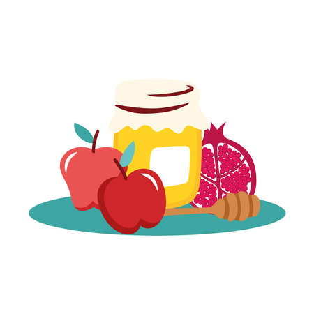 sweet honey pot with fruits and spoon wooden vector illustration design