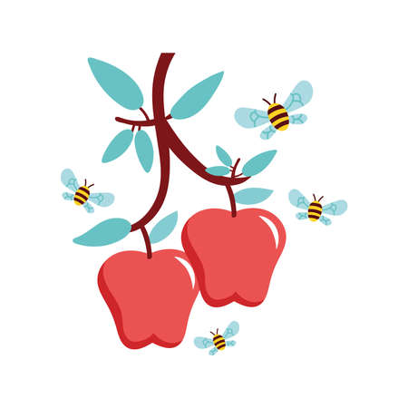 apples fruits and bees flying vector illustration design Ilustrace