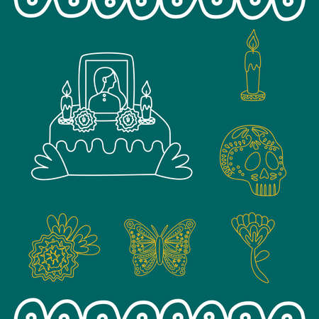 mexican set line style icons vector illustration design