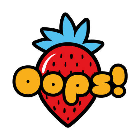 strawberry with oops word pop art style icon vector illustration design