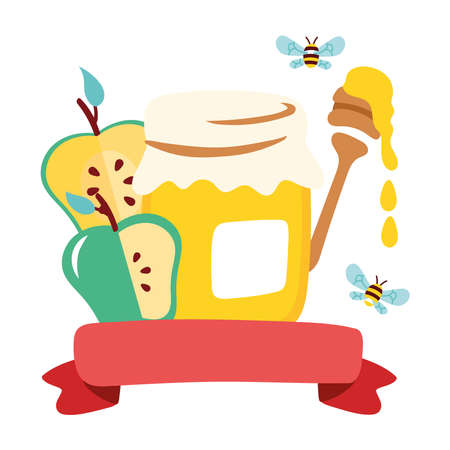 sweet honey pot with apples and spoon vector illustration design