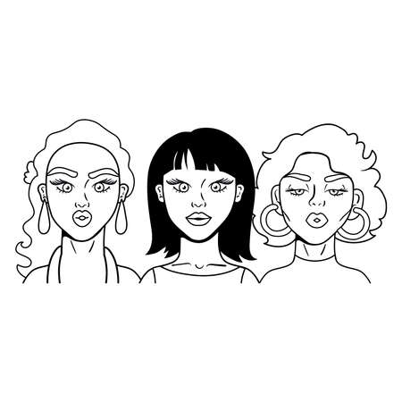 group of girls fashion pop art style vector illustration design 矢量图像