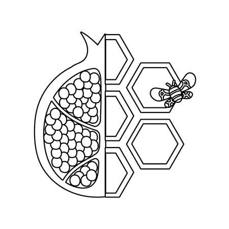 forms of honey sweet with half pomegranate and bee vector illustration design Ilustrace