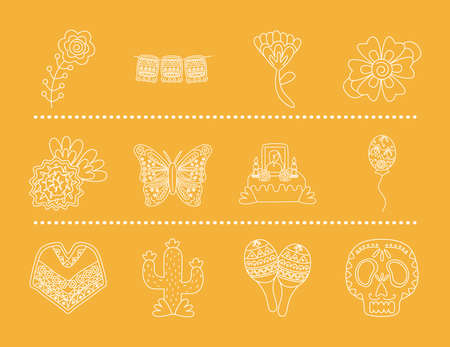 bundle of mexican set line style icons vector illustration design 矢量图像
