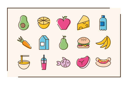 bundle of fifteen food set icons in orange background vector illustration design