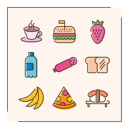 bundle of nine food set icons in red background vector illustration design 矢量图像