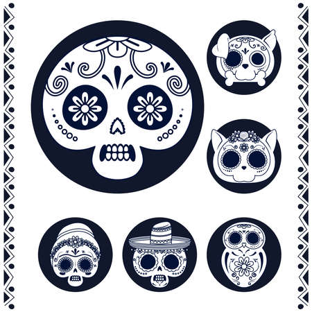 mexican heads skulls set line style icons vector illustration design