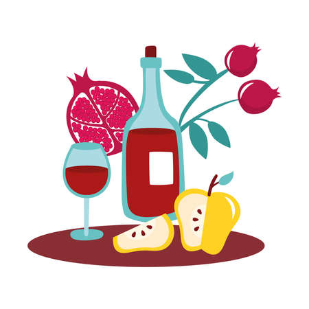 yellow apples and pomegranates fruits with wine vector illustration design Ilustrace