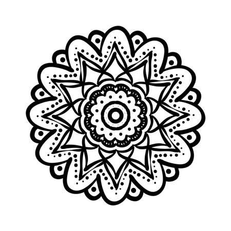 mandala floral ethnicity monochrome isolated icon vector illustration design