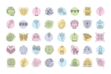 bundle of forty mexican set line style icons vector illustration design