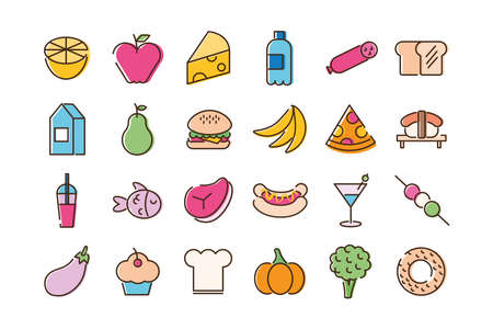 bundle of twenty four food set icons in blue background vector illustration design
