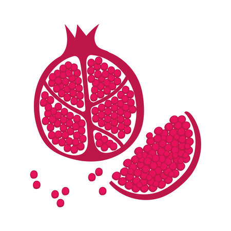 pomegranate fruit portions fresh nature icon vector illustration design Ilustrace