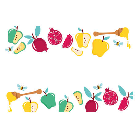 fruits and honey spoon with bee frame vector illustration design
