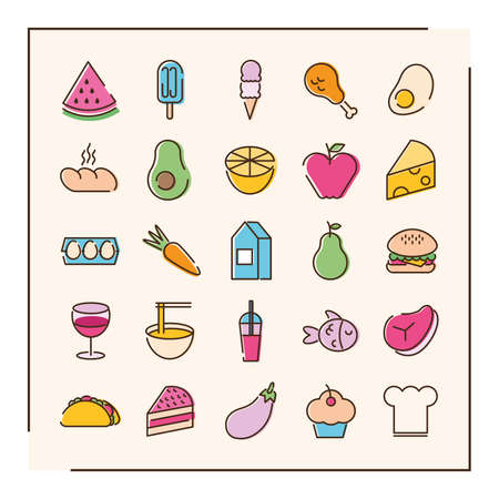 bundle of twenty five food set icons in green background vector illustration design