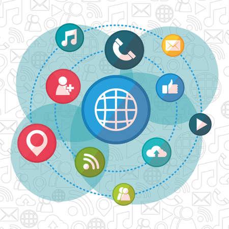 world connection social network media design vector illustration Ilustracja