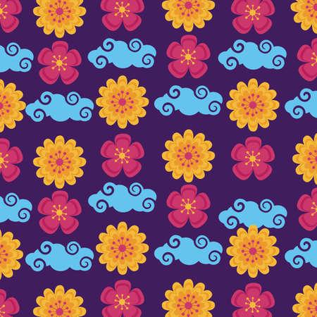 flowers clouds pattern mid autumn festival vector illustration Ilustracja