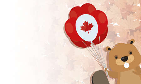 Canadian beaver with balloon design, Happy canada day holiday and national theme Vector illustration