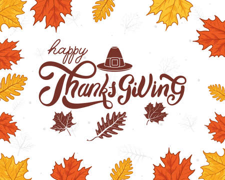 happy thanksgiving day celebration lettering with leaves autumn and pilgrim hat vector illustration design