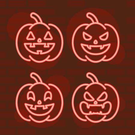 happy halloween set pumpkins in neon light vector illustration design