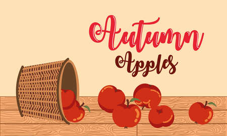 poster autumn with apples in basket wicker vector illustration design Ilustracja
