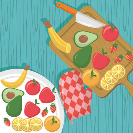 sweet fruits delicious knives, glove vector illustration