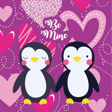 valentines day card with cute penguins couple vector illustration design