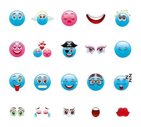 cartoon face icon set design, expression cute emoticon character funny and anime theme Vector illustration