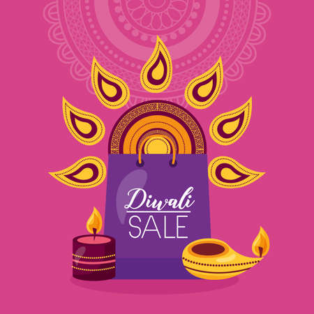 diwali sale card with shopping bag and candles vector illustration design