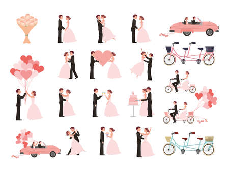 wedding couple and married icons vector illustration design