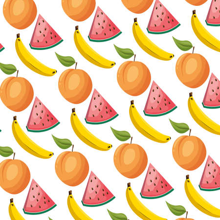 watermelon peach banana tropical fruits background decoration vector illustration