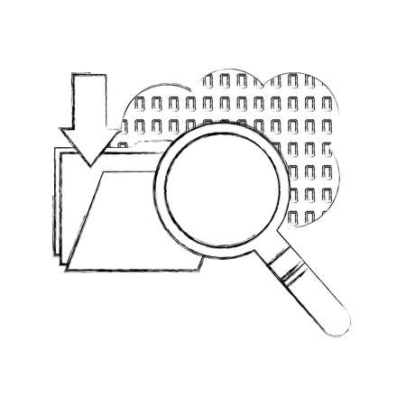 cloud computing with magnifying glass and folder vector illustration design 矢量图像