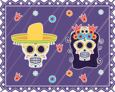 dia de los muertos card with head skulls vector illustration design