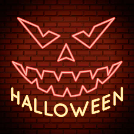 halloween lettering in neon light with pumpkin face vector illustration design