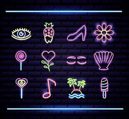 bundle of neon lights set icons vector illustration design