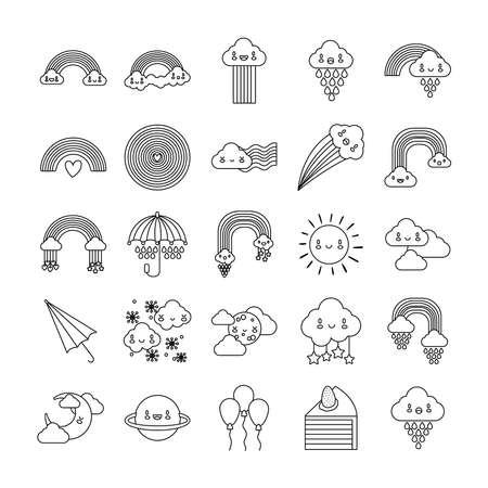 bundle of twenty five rainbows and kawaii characters vector illustration design