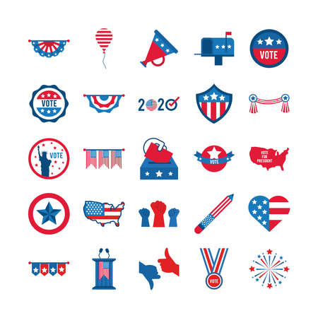 bundle of twenty five usa elections set collection icons vector illustration design