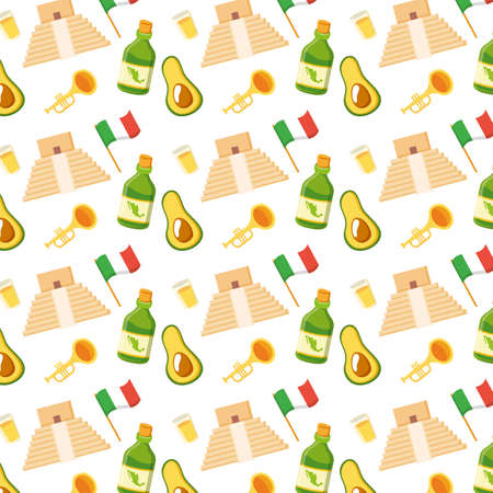 mexican pyramid with set cultural icons pattern vector illustration design 向量圖像