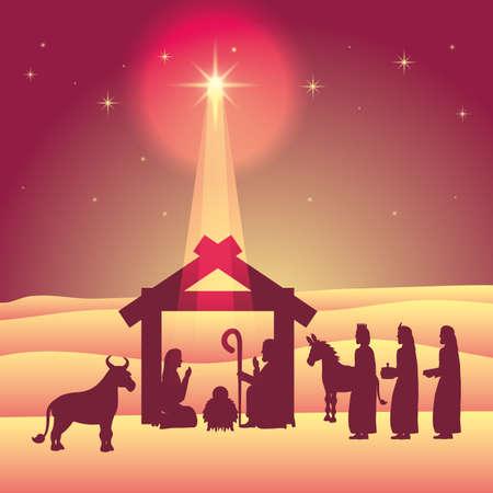 celebration merry christmas manger magicians kings light star desert vector illustration 免版税图像 - 157585606