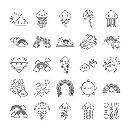 bundle of twenty five rainbows and kawaii characters icons vector illustration design