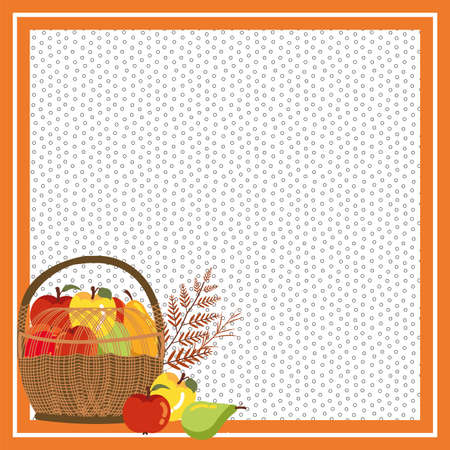 frame with fruits of autumn in wicker basket vector illustration design 向量圖像