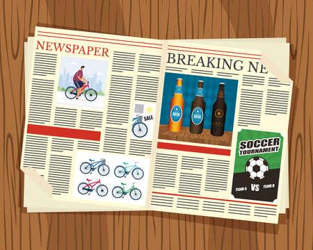 news paper communication with wooden background vector illustration design Ilustração Vetorial