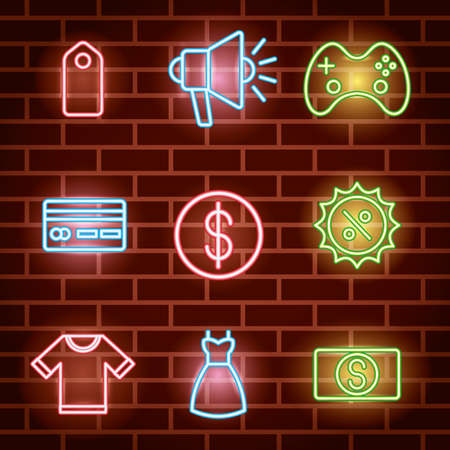 bundle of neon lights icons vector illustration design 向量圖像