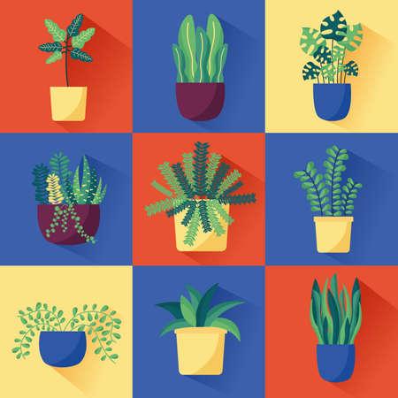 decorative banner house plants nature vector illustration Vektorgrafik