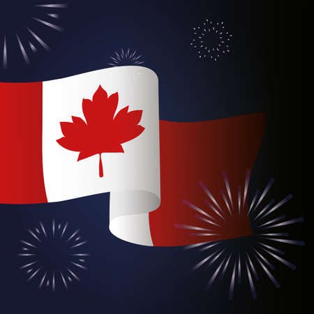 Canadian flag with fireworks design, Happy canada day holiday and national theme Vector illustration 向量圖像