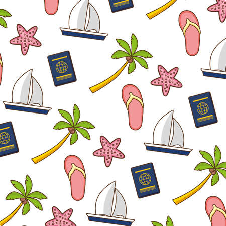 beach vacations background boat palm sandals starfish passport vector illustration