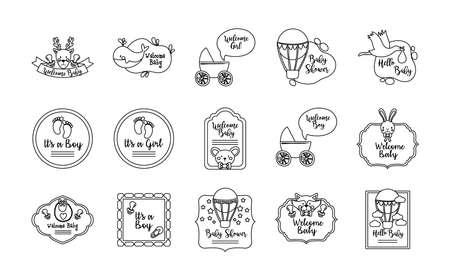 bundle of fifteen baby shower set icons vector illustration design 向量圖像
